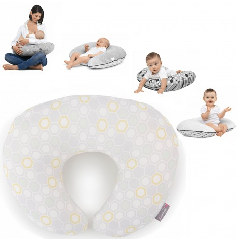 Cuddle Co Comfi-Mum Memory Foam Designer Bamboo 4-in-1 Feeding & Nursing Pregnancy Support Pillow - Beehive Grey